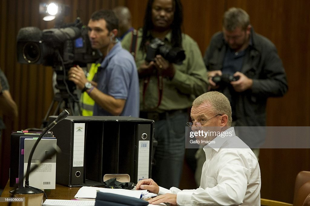 Advocate <a gi-track='captionPersonalityLinkClicked' href=/galleries/search?phrase=Gerrie+Nel&family=editorial&specificpeople=10487141 ng-click='$event.stopPropagation()'>Gerrie Nel</a> during Oscar Pistorius' bail hearing at Pretoria Magistrates Court on March 28, 2013, in Pretoria, South Africa. Oscar Pistorius, who stands accused of shooting Reeva Steenkamp on February 14, 2013, has succesfully appealed his bail conditions, which included travel restrictions.