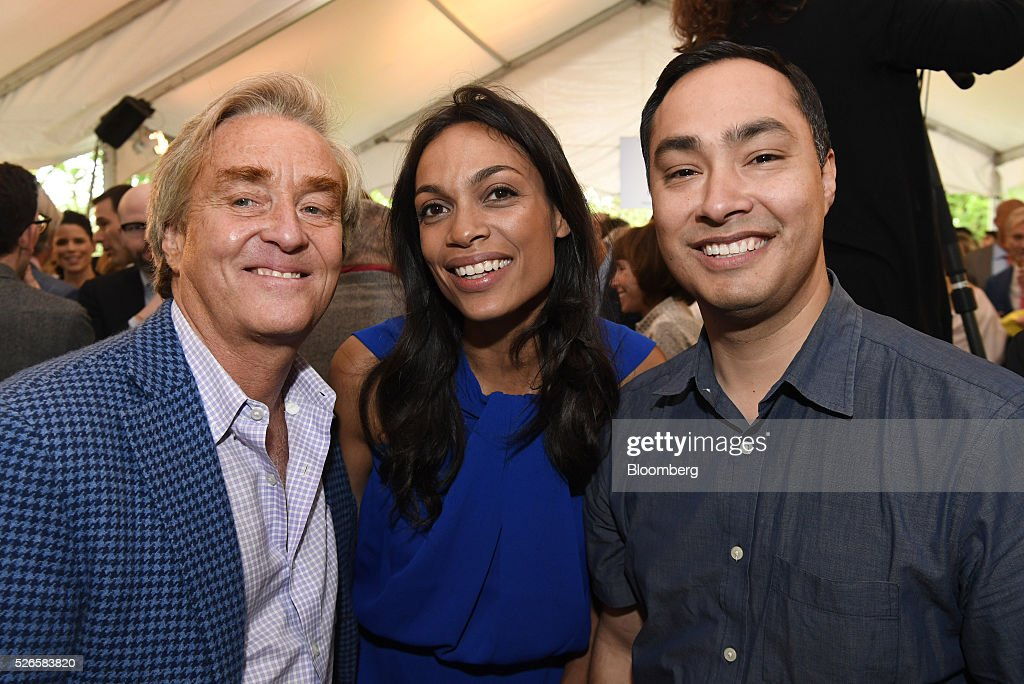 Advocate Jim Steyer, from left, actress Rosario Dawson, and Representative Joaquin Castro, a Democrat from Texas, attend the 23rd Annual White House Correspondents' Garden Brunch in Washington, D.C., U.S., on Saturday, April 30, 2016. The event will raise awareness for Halcyon Incubator, an organization that supports early stage social entrepreneurs 'seeking to change the world' through an immersive 18-month fellowship program. Photographer: David Paul Morris/Bloomberg via Getty Images