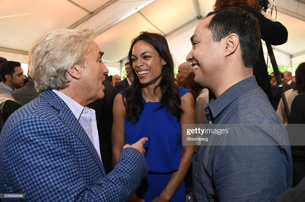 Advocate Jim Steyer, from left, actress <a gi-track='captionPersonalityLinkClicked' href=/galleries/search?phrase=Rosario+Dawson&family=editorial&specificpeople=201472 ng-click='$event.stopPropagation()'>Rosario Dawson</a>, and Representative Joaquin Castro, a Democrat from Texas, attend the 23rd Annual White House Correspondents' Garden Brunch in Washington, D.C., U.S., on Saturday, April 30, 2016. The event will raise awareness for Halcyon Incubator, an organization that supports early stage social entrepreneurs 'seeking to change the world' through an immersive 18-month fellowship program. Photographer: David Paul Morris/Bloomberg via Getty Images