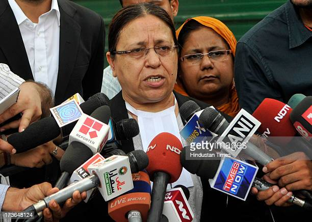 Advocate Kamna Vora briefing to the media as Nirpreet Kaur victim of 1984 AntiSikh riots looks on after Delhi High Court upholded framing of charges...