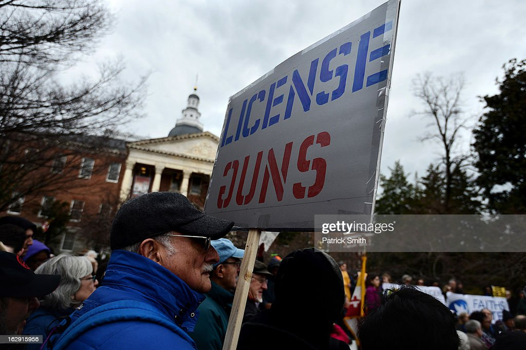 Advocates of stricter gun control laws rally at the Maryland State House on March 1, 2013 in Annapolis, Maryland. Earlier this week, the Maryland Senate passed a gun control bill, which if passed in the House of Delegates, would require a license to purchase a handgun, ban the sale of assault-style rifles and limit magazine size, among other provisions.
