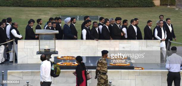 Advocates with Congress leader Ajay Maken participated in a march against GST at Rajghat on December 1 2017 in New Delhi India