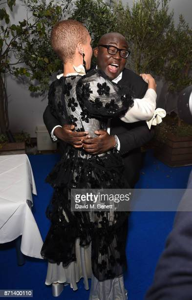 Adwoa Aboah and Edward Enninful attend a dinner hosted by Jonathan Newhouse and Albert Read for Edward Enninful to celebrate the December issue of...