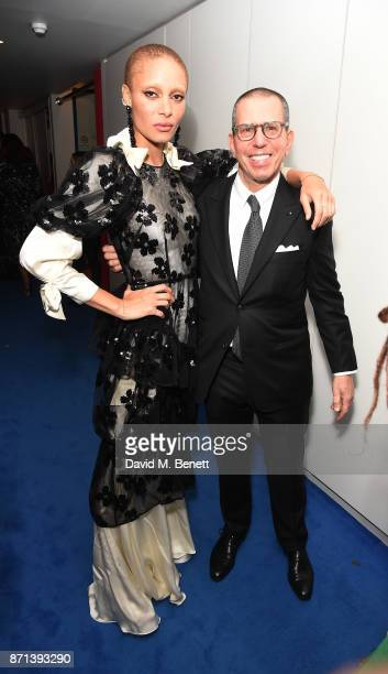 Adwoa Aboah and Jonathan Newhouse attend a dinner hosted by Jonathan Newhouse and Albert Read for Edward Enninful to celebrate the December issue of...