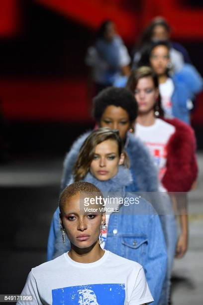 Adwoa Aboah and models walk the runway at the TOPSHOP Ready to Wear Spring/Summer 2018 fashion show during London Fashion Week September 2017 on...