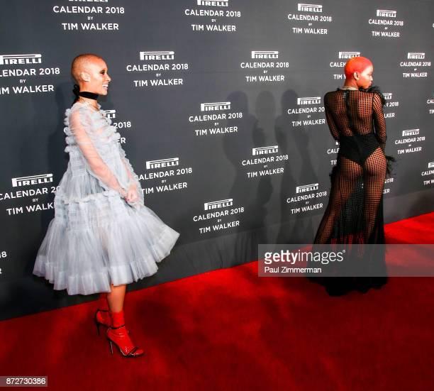Adwoa Aboah and Slick Woods attend Pirelli Calendar 2018 Launch Gala at The Manhattan Center on November 10 2017 in New York City