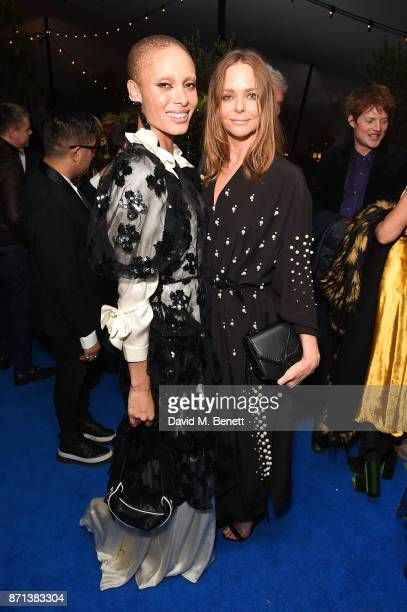 Adwoa Aboah and Stella McCartney attend a dinner hosted by Jonathan Newhouse and Albert Read for Edward Enninful to celebrate the December issue of...