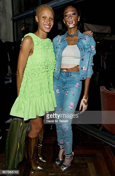 Adwoa Aboah and Winnie Harlow attend the launch of iD's 'The Female Gaze' issue hosted by Holly Schkleton and Adwoa Aboah during London Fashion Week...