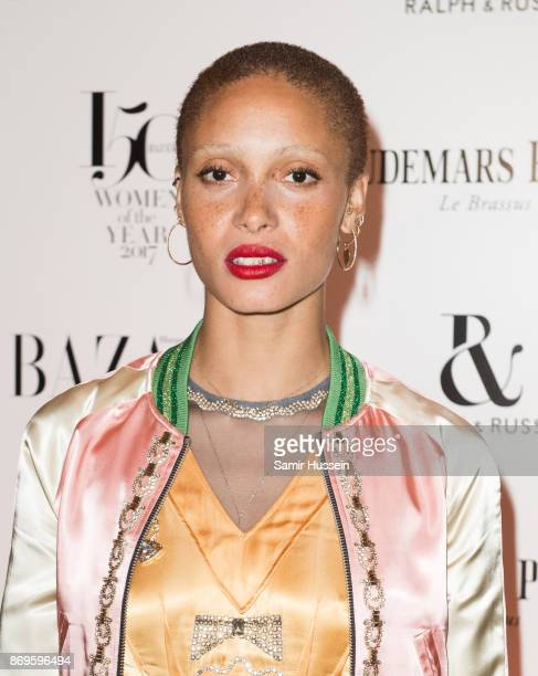 Adwoa Aboah arrives at the Harper's Bazaar Woman Of The Year Awards held at Claridges Hotel on November 2 2017 in London England