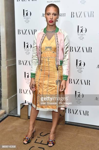 Adwoa Aboah arrives at the Harper's Bazaar Women of the Year Awards at Claridge's Hotel in London