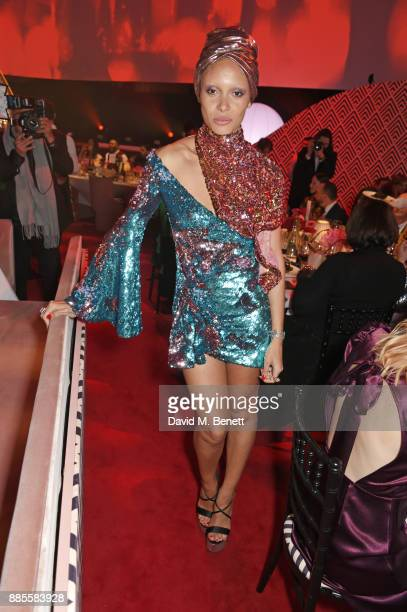 Adwoa Aboah attends a drinks reception ahead of The Fashion Awards 2017 in partnership with Swarovski at Royal Albert Hall on December 4 2017 in...