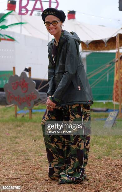 Adwoa Aboah attends day two of Glastonbury on June 24 2017 in Glastonbury England
