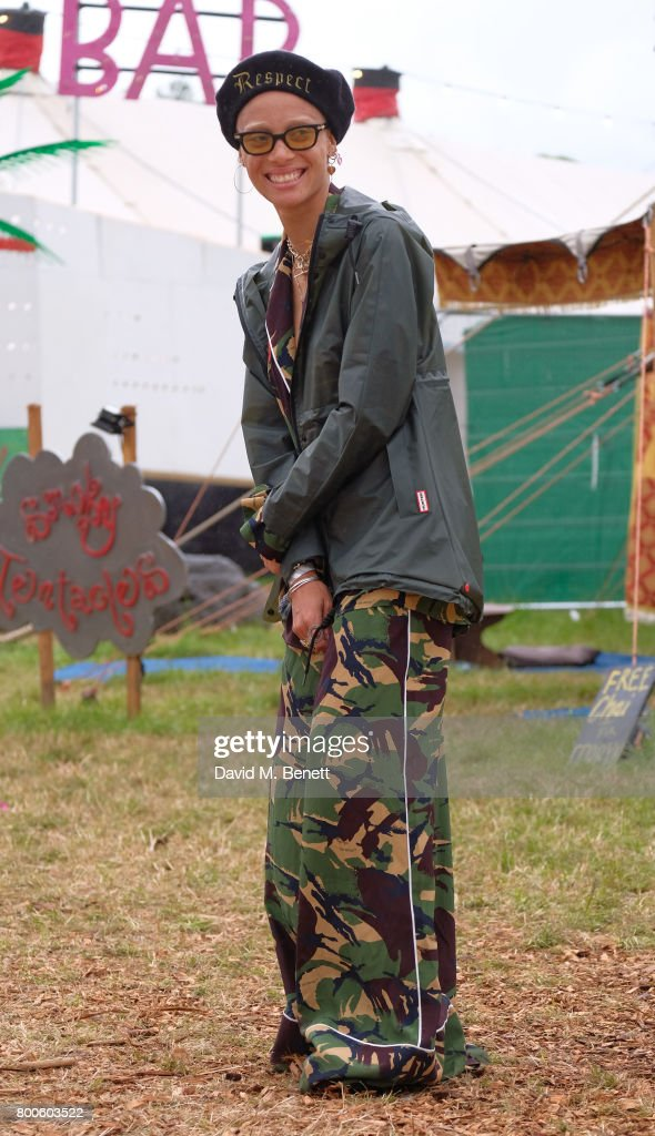Adwoa Aboah attends day two of Glastonbury on June 24, 2017 in Glastonbury, England.