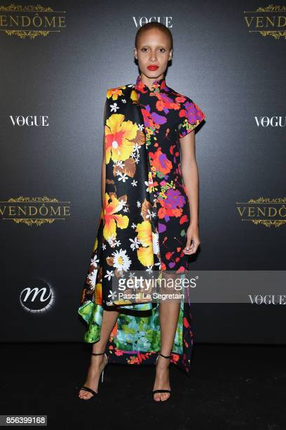 Adwoa Aboah attends the Irving Penn Exhibition Private Viewing Hosted by Vogue as part of the Paris Fashion Week Womenswear Spring/Summer 2018 on...