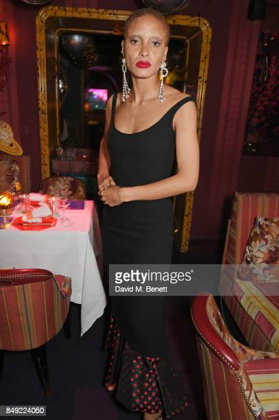 Adwoa Aboah attends the LOVE magazine x Miu Miu party held during London Fashion Week at Loulou's on September 18 2017 in London England