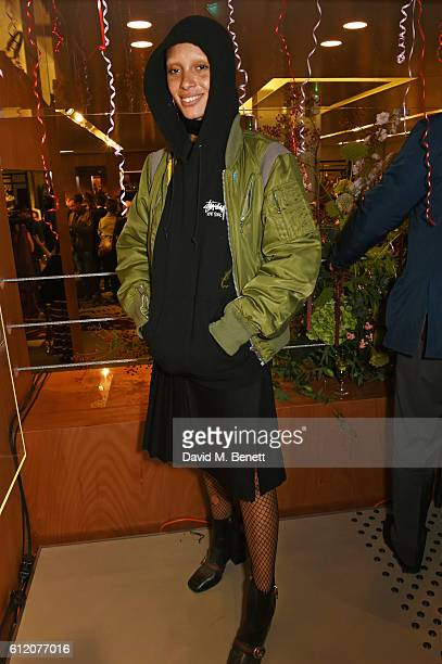 Adwoa Aboah attends the opening of Vivienne Westwood's new Paris store as part of the Paris Fashion Week Womenswear Spring/Summer 2017 on October 2...