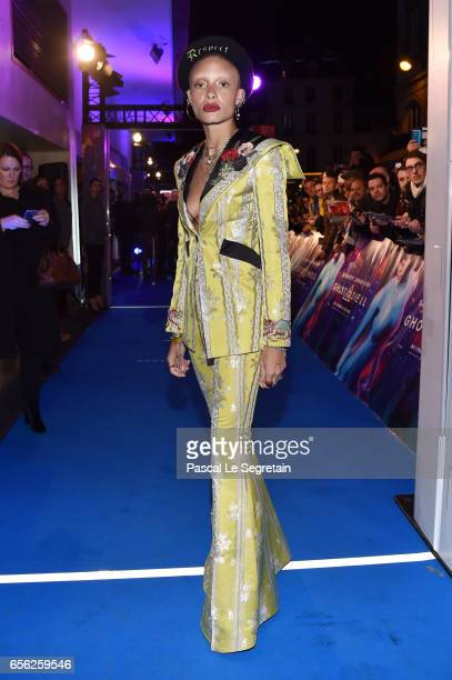 Adwoa Aboah attends the Paris Premiere of the Paramount Pictures release 'Ghost In The Shell' at Le Grand Rex on March 21 2017 in Paris France