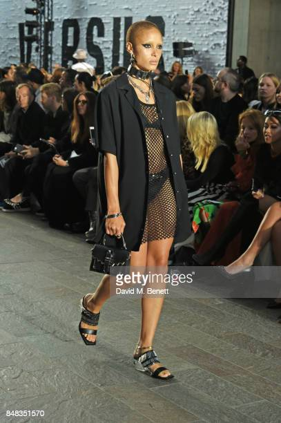 Adwoa Aboah attends the Versus SS18 catwalk show during London Fashion Week September 2017 at Central St Martins on September 17 2017 in London...