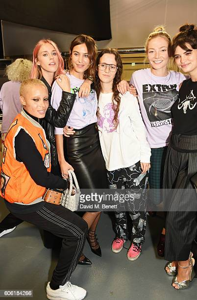 Adwoa Aboah Mary Charteris Alexa Chung designer Ashley Williams Clara Paget and Pixie Geldof pose backstage following the Ashley Williams runway show...