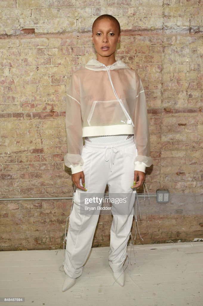 Adwoa Aboah poses backstage at the FENTY PUMA by Rihanna Spring/Summer 2018 Collection at Park Avenue Armory on September 10, 2017 in New York City.