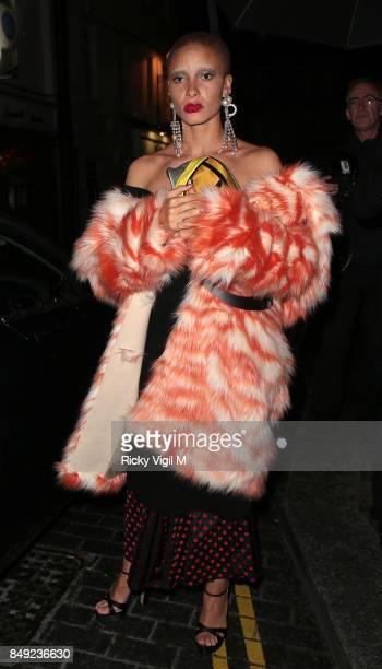 Adwoa Aboah seen at Miu Miu X LOVE Magazine party at No 5 Hertford Street during London Fashion Week September 2017 on September 18 2017 in London...