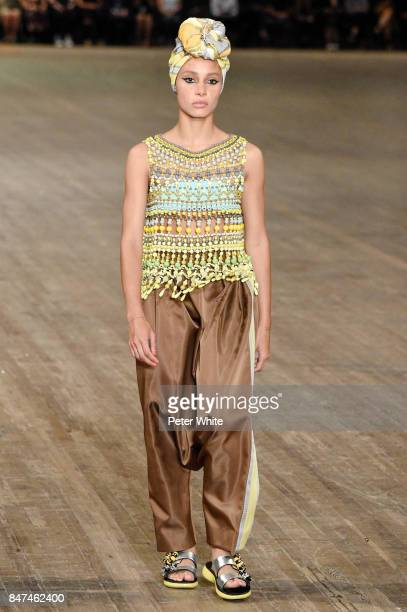 Adwoa Aboah walks the runway at Marc Jacobs Show during New York Fashion Week The Shows at Park Avenue Armory on September 13 2017 in New York City