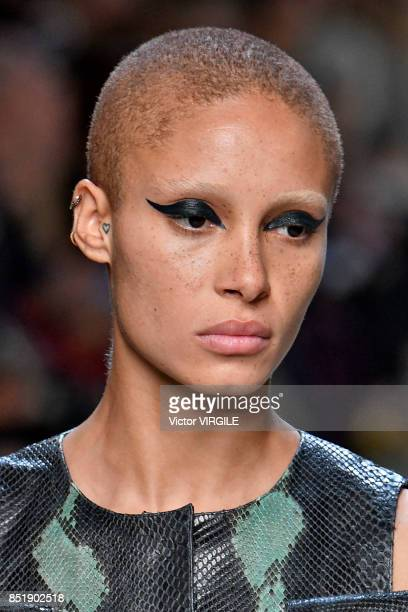 Adwoa Aboah walks the runway at the Fendi Ready to Wear Spring/Summer 2018 fashion show during Milan Fashion Week Spring/Summer 2018 on September 21...