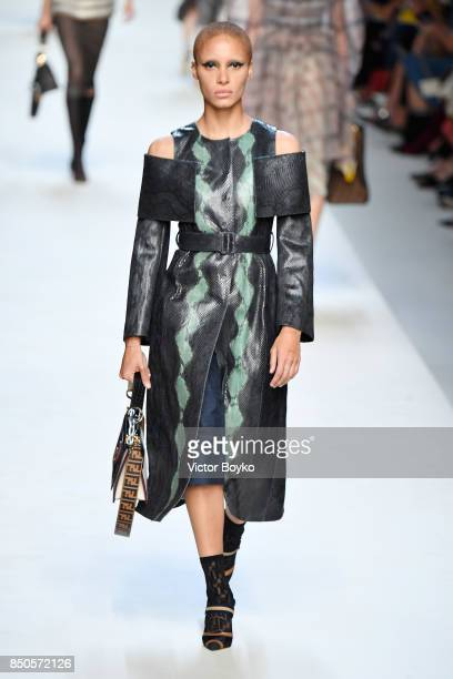 Adwoa Aboah walks the runway at the Fendi show during Milan Fashion Week Spring/Summer 2018 on September 21 2017 in Milan Italy