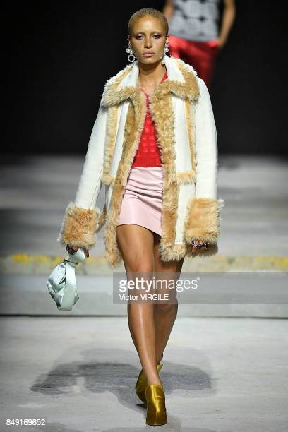 Adwoa Aboah walks the runway at the TOPSHOP Ready to Wear Spring/Summer 2018 fashion show during London Fashion Week September 2017 on September 17...