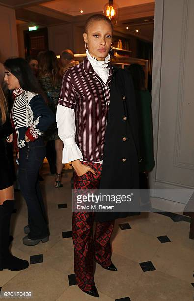 Adwoa Aboah wearing Burberry attends an event to celebrate 'The Tale of Thomas Burberry' at Burberry's all day cafe Thomas's on November 1 2016 in...