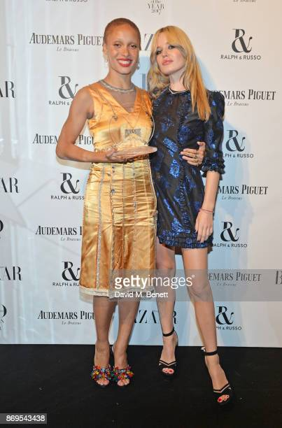 Adwoa Aboah winner of the Role Model award and Georgia May Jagger attend Harper's Bazaar Women of the Year Awards in association with Ralph Russo...