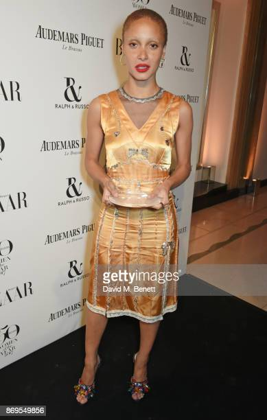 Adwoa Aboah winner of the Role Model award attends Harper's Bazaar Women of the Year Awards in association with Ralph Russo Audemars Piguet and...