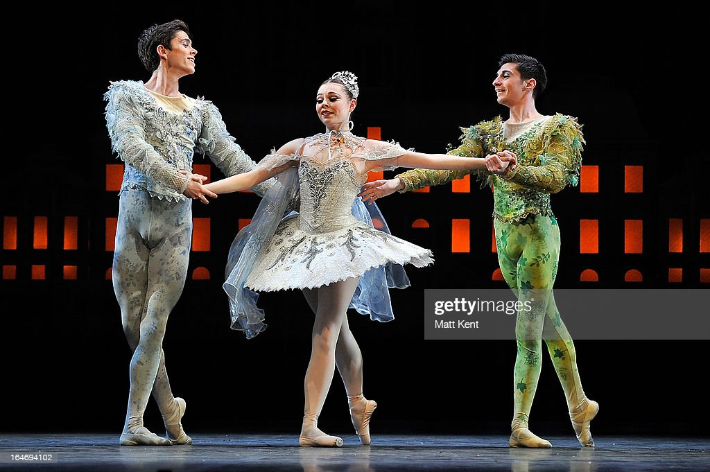 Aeden Pittendreigh as Winter, Daniela Oddi as Cinderella and Filippo Di Vilio as Spring perform during the dress rehearsal for the English National Ballet's 'My First Cinderella' at The Peacock Theatre on March 26, 2013 in London, England.
