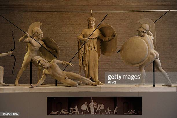 Aegina West Pediment Sanctuary of Aphaia Aegina Island Greece Reconstruction by Bertel Thorvaldsen 19th century Athena and warriors Glyptothek Museum...