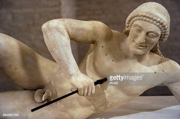 Aegina West Pediment Sanctuary of Aphaia Aegina Island Greece Reconstruction by Bertel Thorvaldsen 19th century Fallen trojan warrior Glyptothek...