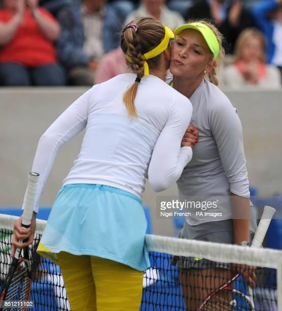 Aegon Classic Winner Slovakia's Daniela Hantuchova kisses runner up Croatia's Donna Vekic at the net after during the AEGON Classic at Edgbaston...