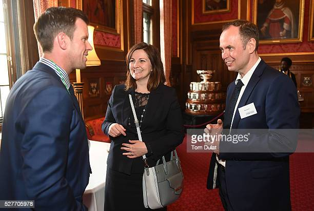 Aegon GB Davis Cup Captain Leon Smith speaks to Caroline Ansell MP and Rob Cottrill during the Davis Cup Parliamentary Reception at Houses of...