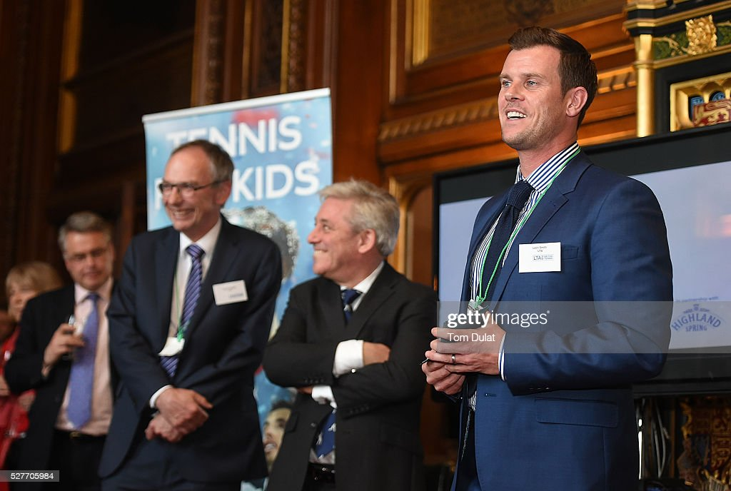 Aegon GB Davis Cup Captain, <a gi-track='captionPersonalityLinkClicked' href=/galleries/search?phrase=Leon+Smith+-+Tennis+Coach&family=editorial&specificpeople=12698515 ng-click='$event.stopPropagation()'>Leon Smith</a> speaks to guests during the Davis Cup Parliamentary Reception at Houses of Parliament on May 3, 2016 in London, England.