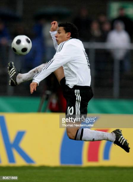 Aenis BenHatira of Germany in action during the men's U20 international friendly match between Germany and Switzerland on April 22 2008 in...