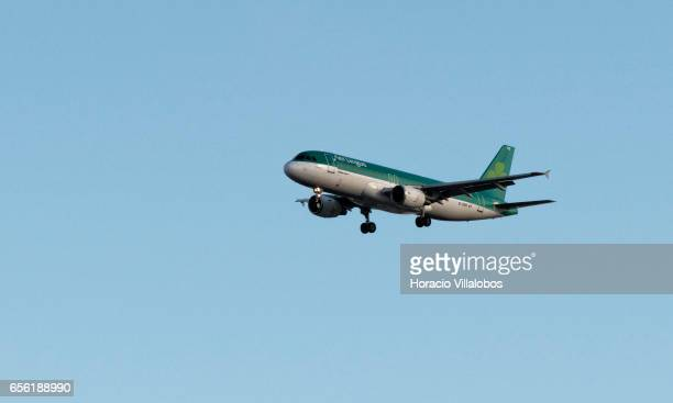 Aer Lingus Airbus A320200 flies on its descent path into Humberto Delgado Airport on March 20 2017 in Lisbon Portugal Founded in 1936 by the Irish...