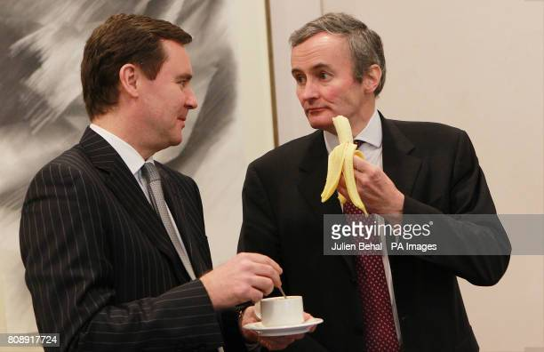 Aer Lingus executives chief financial officer Andrew McFarlane and chief commercial officer Stephen Kavanagh in the Radisson Hotel Dublin at the...