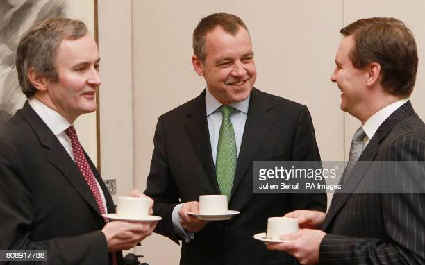 Aer Lingus executives chief financial officer Andrew McFarlane chief executive Christoph Mueller and chief commercial officer Stephen Kavanagh in the...