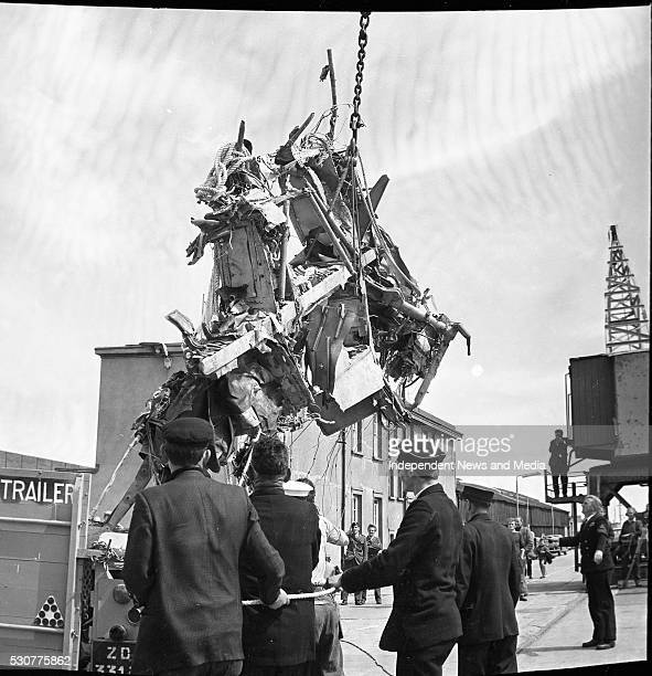 Aer Lingus Vickers Viscount plane crash off the Tuskar Rock landing of the wreckage at Roslare Harbour Co Wexford circa March 1968 indo pic Scanned...