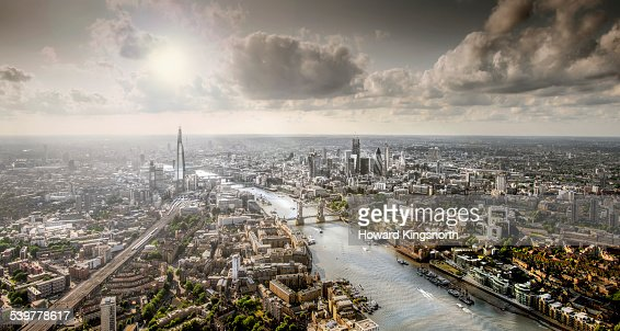 Aeral view of London and the Thames from the East