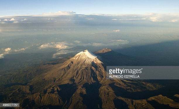 Aereal view of the Citlaltepetl volcano or Pico de Orizaba the highest mountain in Mexico and the third highest in North America with 5636 metres in...