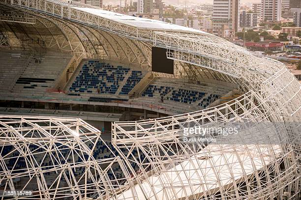 Aereal view of the roof at Estadio das Dunas on November 14 2013 in Natal Brazil