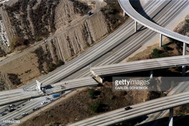 Aeria view of wrecked cars litter the connector ramp from Interstate 5 to Highway 14 following the Northridge earthquake on January 17 in Northridge...