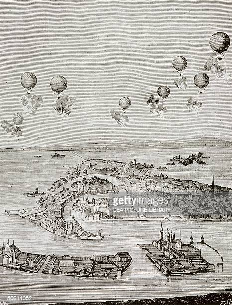 Aerial bombardment of Venice by the Austrians 1849 Republic of San Marco Italy 19th century