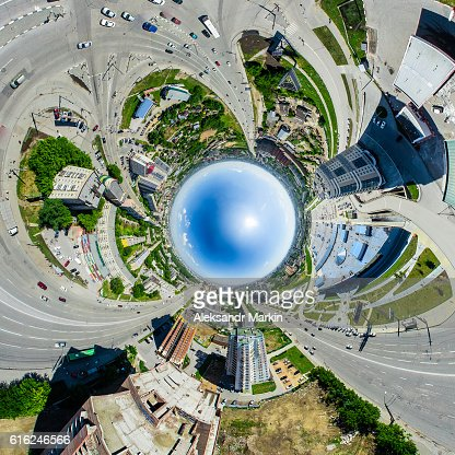 Vista aérea cidade. Paisagem urbana. Copter tiro. Imagem panorâmica. : Foto de stock
