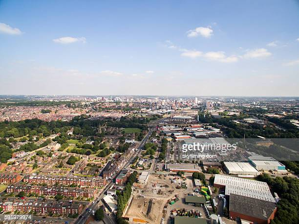 Aerial cityscape of Leeds view from Kirkstall